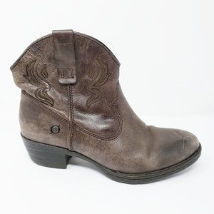Born Riven Ebony Cowboy Heel Zip Ankle Booties